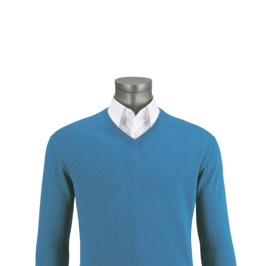 jersey azul cuello pico