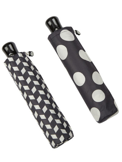 paraguas plegable automatico blanco negro geometrico antiviento